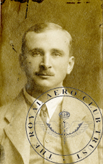 Charles Herbert Collet, aviator's certificate photo 1913