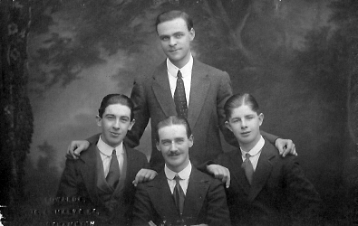 Bertie and his brothers: from left to right; Bertie Sonley, Arthur Anteney, Claude Materson and Leslie Sonley