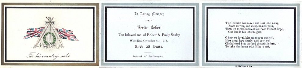 Memorial card for Bertie Sonley 1918