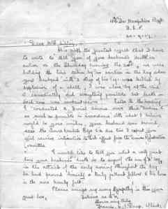 Letter sent to Edwards' wife on his death.
