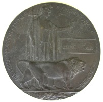 Dead Man's Penny with Wilfred Loveday Hales's name.